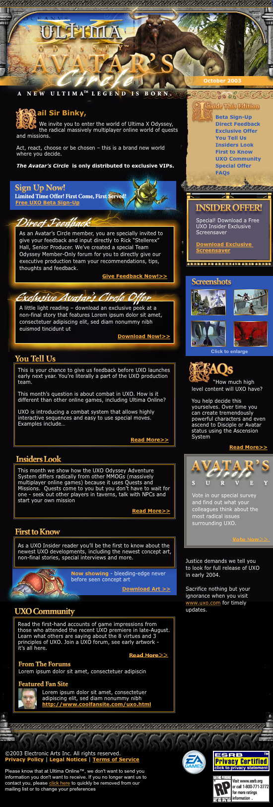 EA Ultima Online Avatar's Circle Newsletter