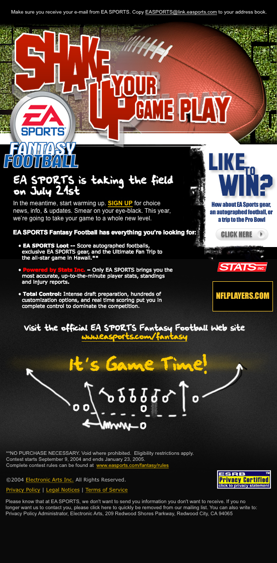 EA Sports Fantasy Football Email