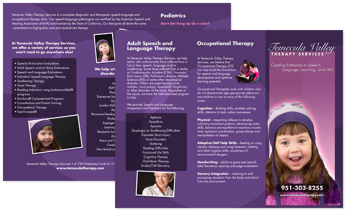 Temecula Valley Therapy Services Tri-fold Brochure
