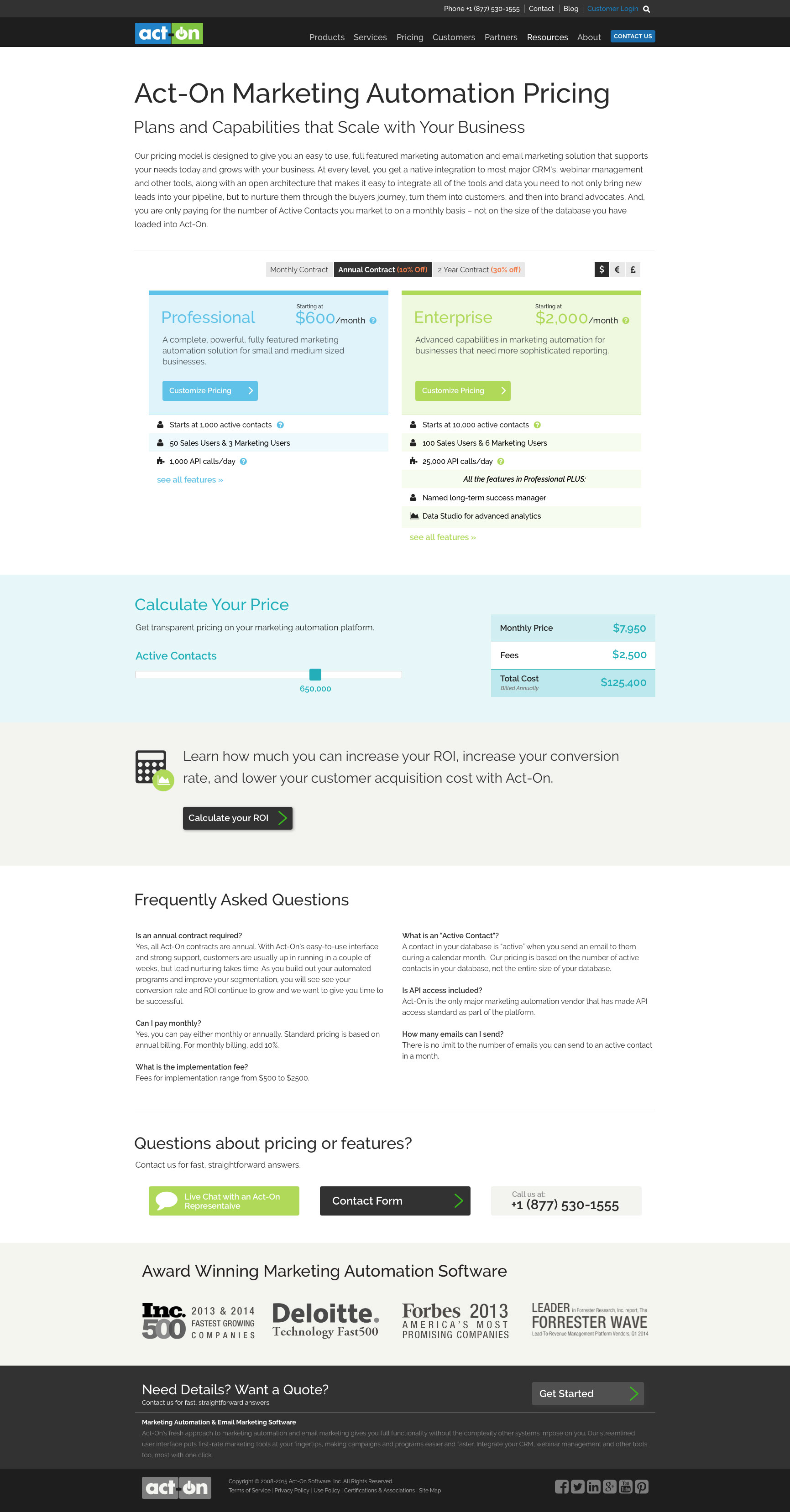 Act-On Software Pricing Page Design