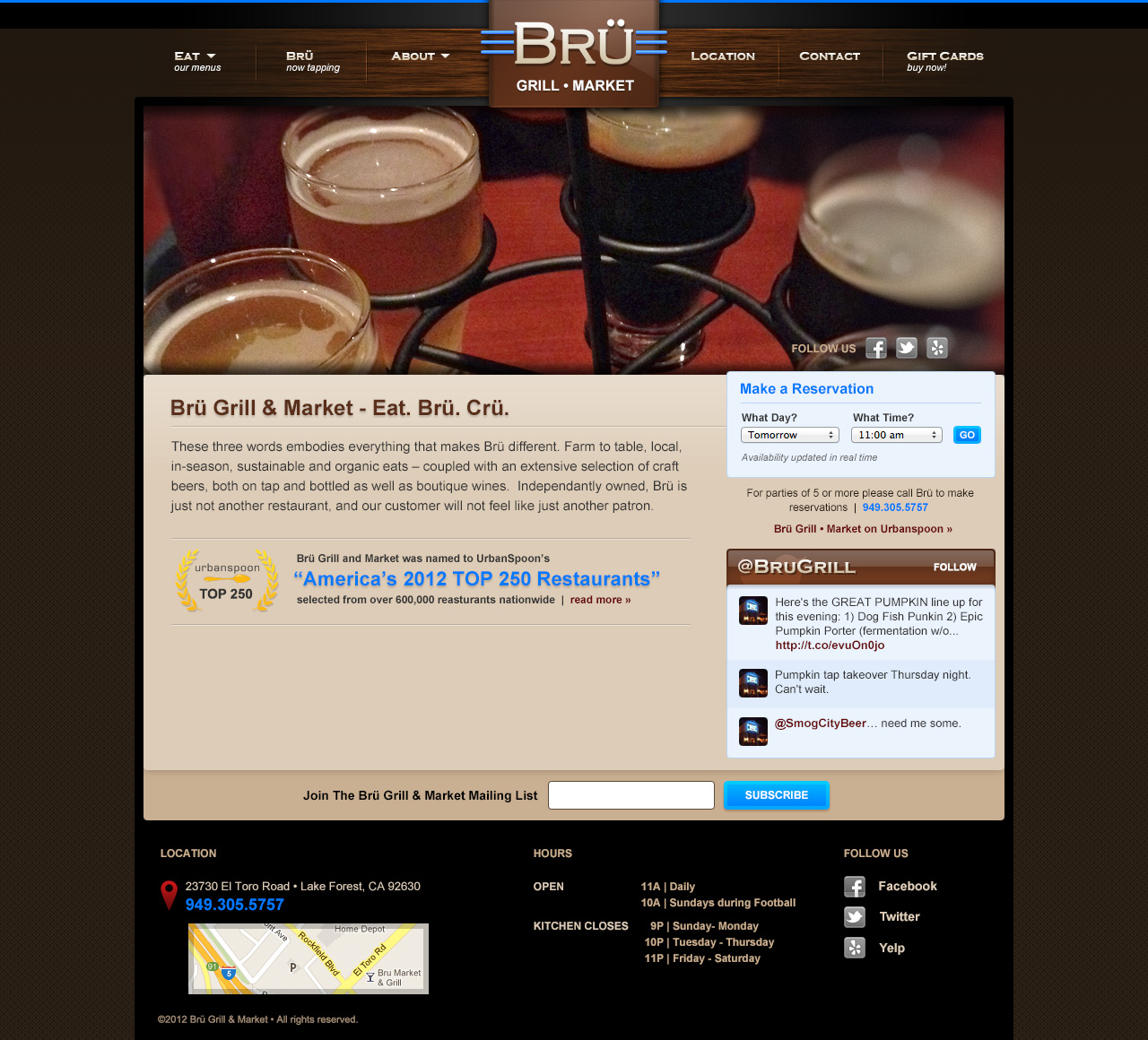 Bru Grill & Market Website Design